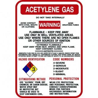 Acetylene Gas Hazard Warning Signs 10x14 Model Sign