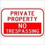 Private Property No Trespassing Horizontal Sign
