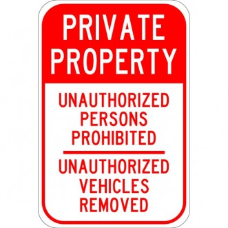 Unathorized Private Property Sign