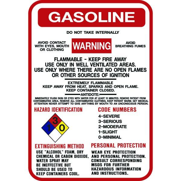 Gasoline Hazardous Warning Sign 10x14 Model Sign