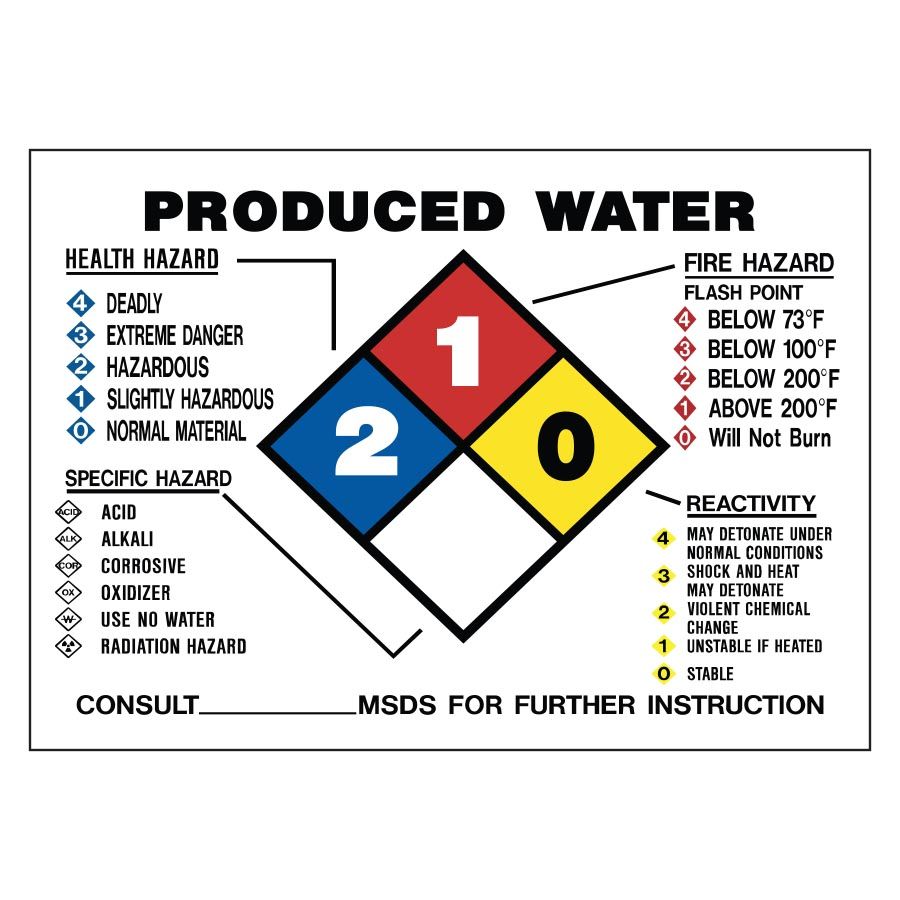 Produced water nfpa diamond model sign for Bisulfite de sodium piscine